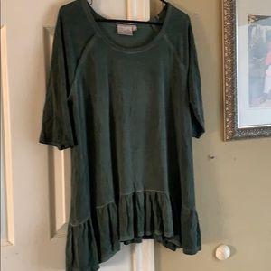 Tops - Size XL green ruffle shirt sleeve shirt